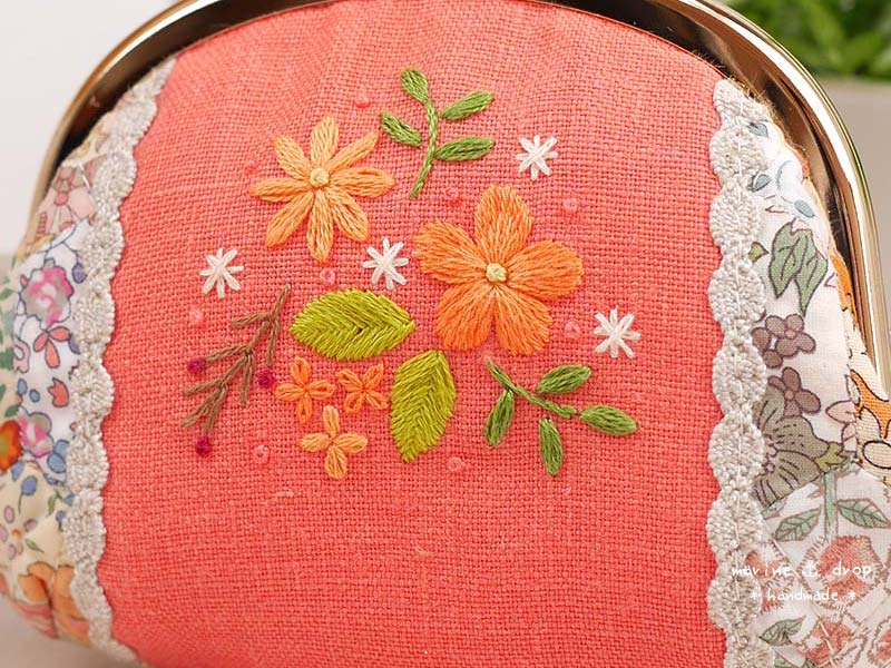 刺繍 オレンジ リバティ