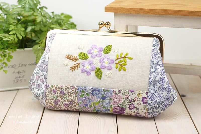がま口 リバティ パッチワーク 刺繍 紫 ラベンダー