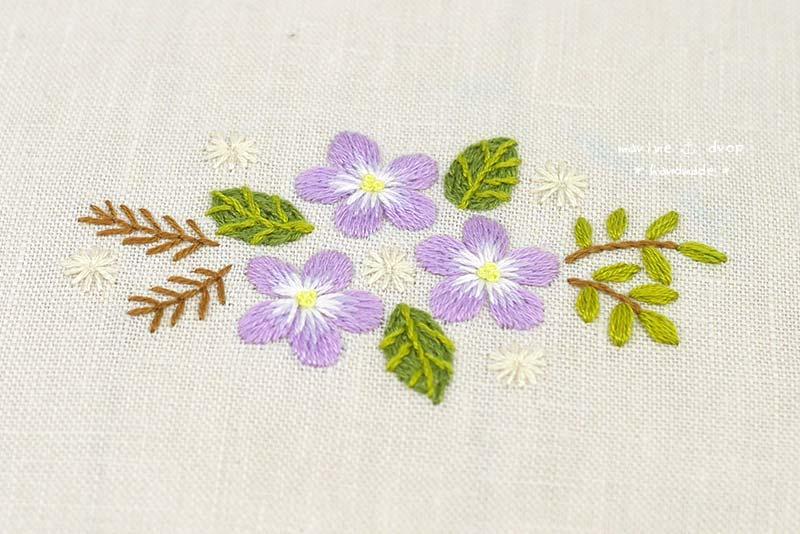刺繍 ピンク 花
