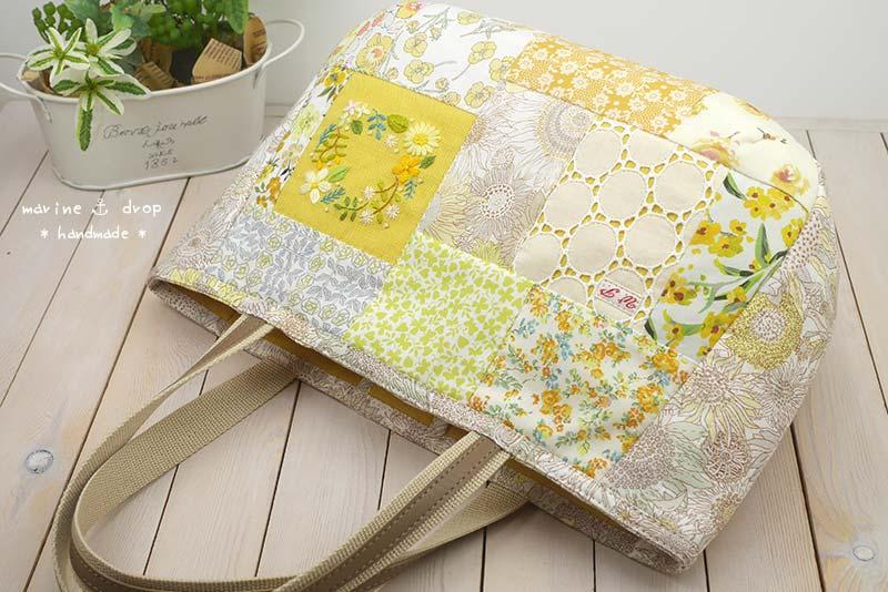 刺繍 リバティ パッチワーク バッグ イエロー 黄色 レース