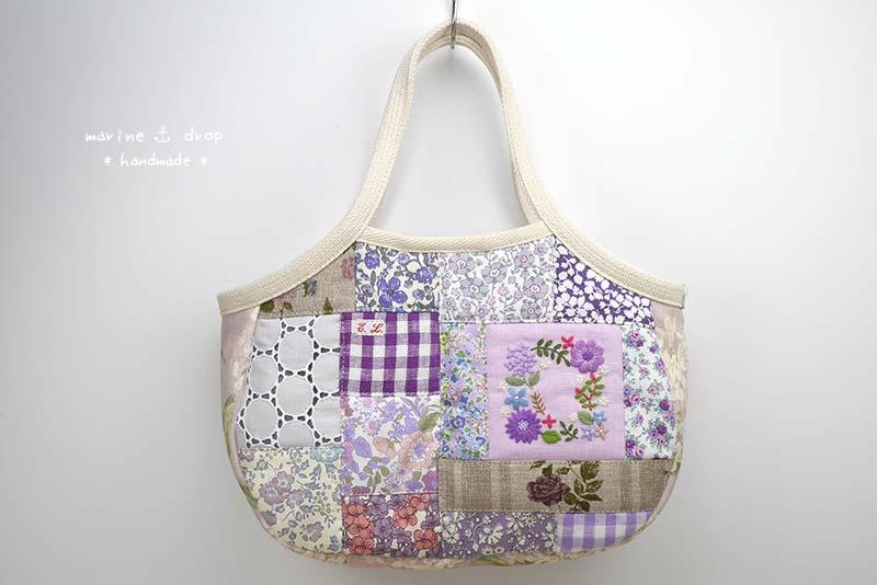 リバティ 刺繍 パッチワーク バッグ