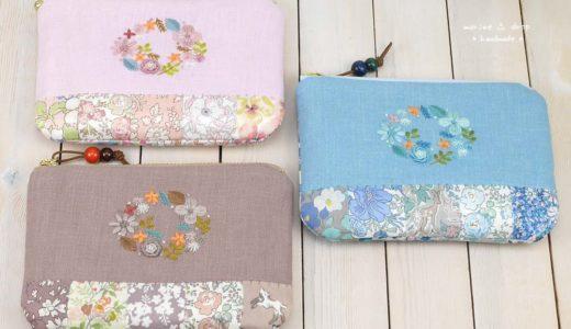 リバティ☆刺繍とパッチワークのポーチ