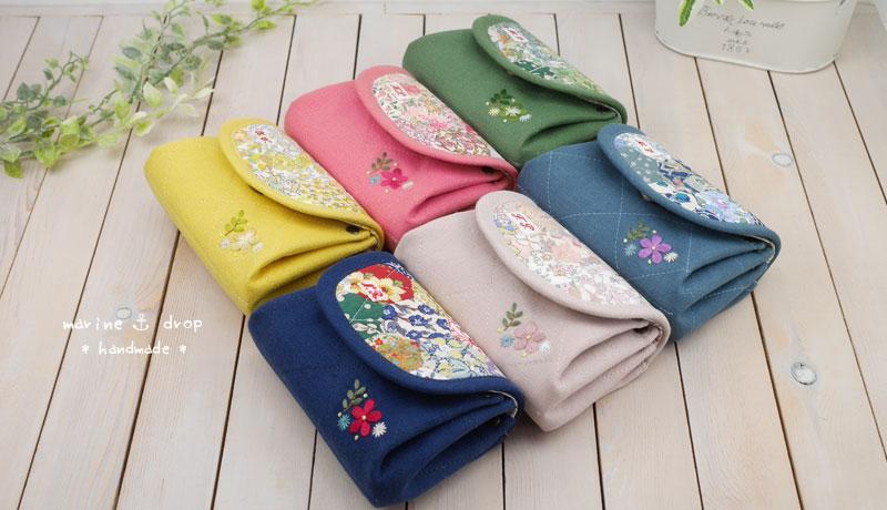 刺繍とリバティパッチワーク☆アコーディオンポーチ6色 お財布 ポーチに